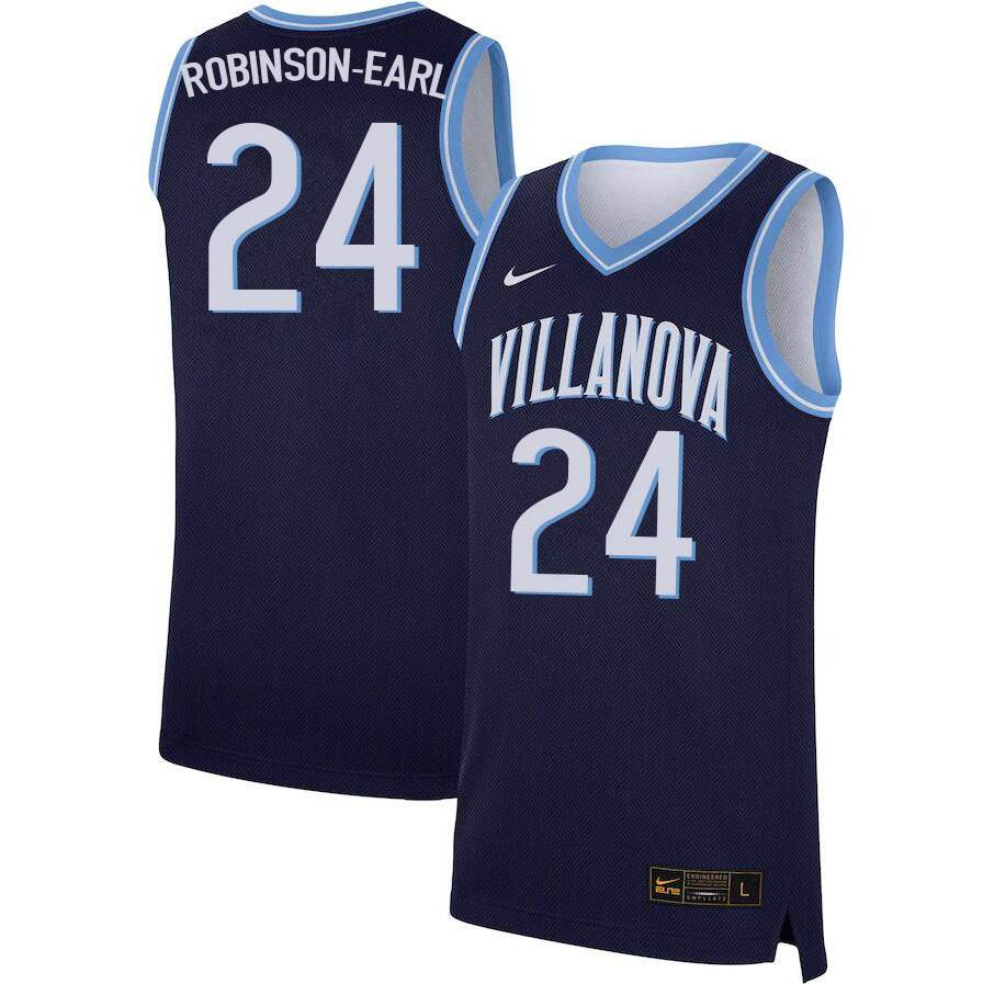 Men #24 Jeremiah Robinson-Earl Villanova Wildcats College Basketball Jerseys Sale-Navy