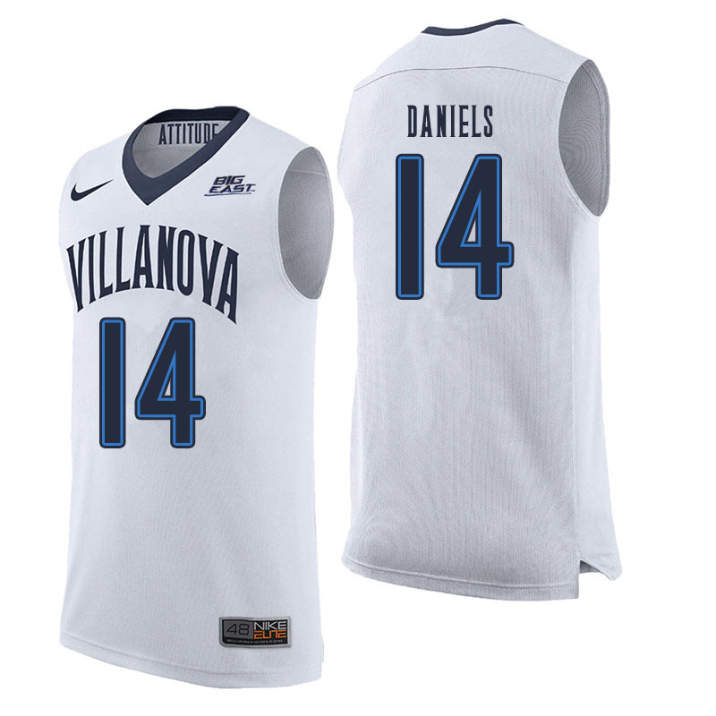 Men #14 Caleb Daniels Villanova Wildcats College Basketball Jerseys Sale-White
