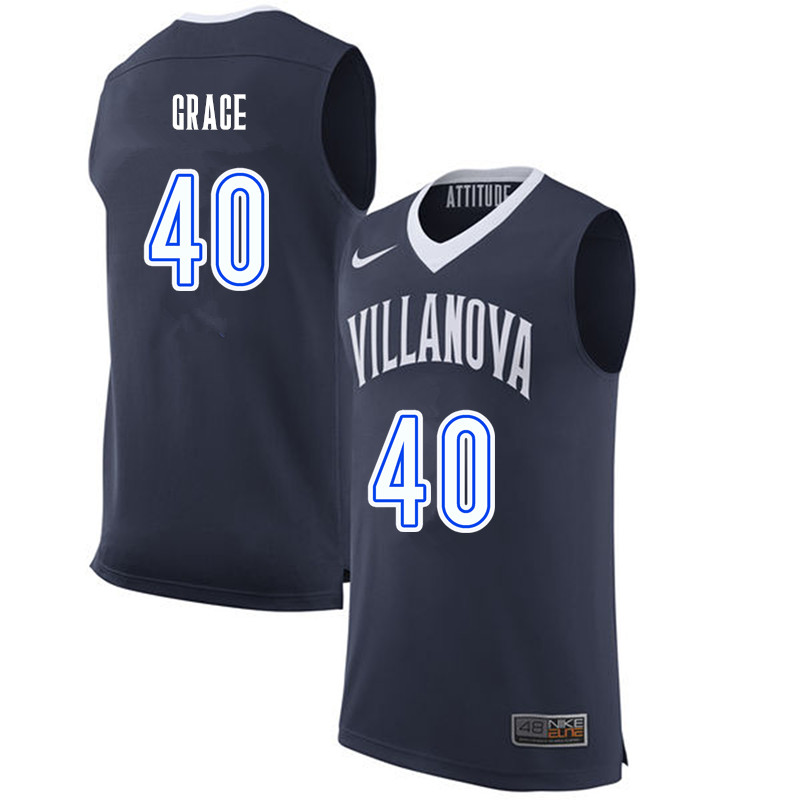 Men #40 Denny Grace Villanova Wildcats College Basketball Jerseys-Navy