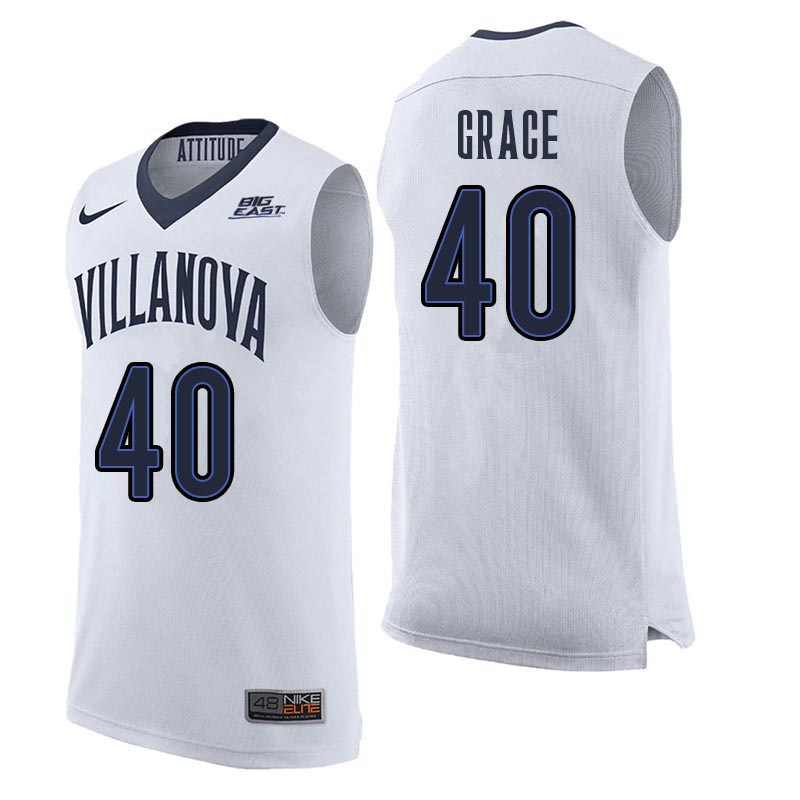 Men Villanova Wildcats #40 Denny Grace College Basketball Jerseys Sale-White