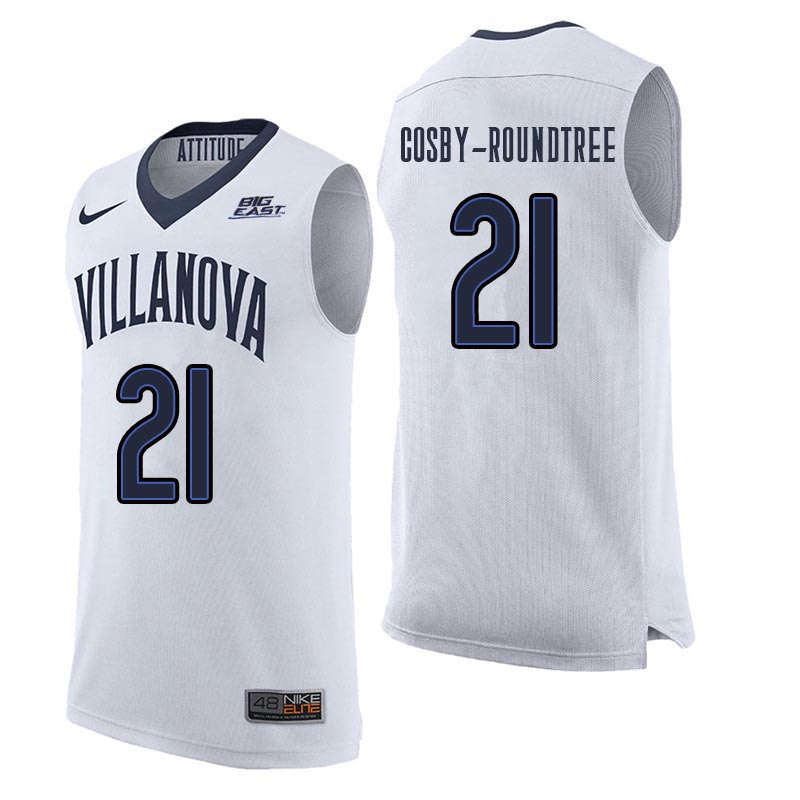 Men Villanova Wildcats #21 Dhamir Cosby-Roundtree College Basketball Jerseys Sale-White