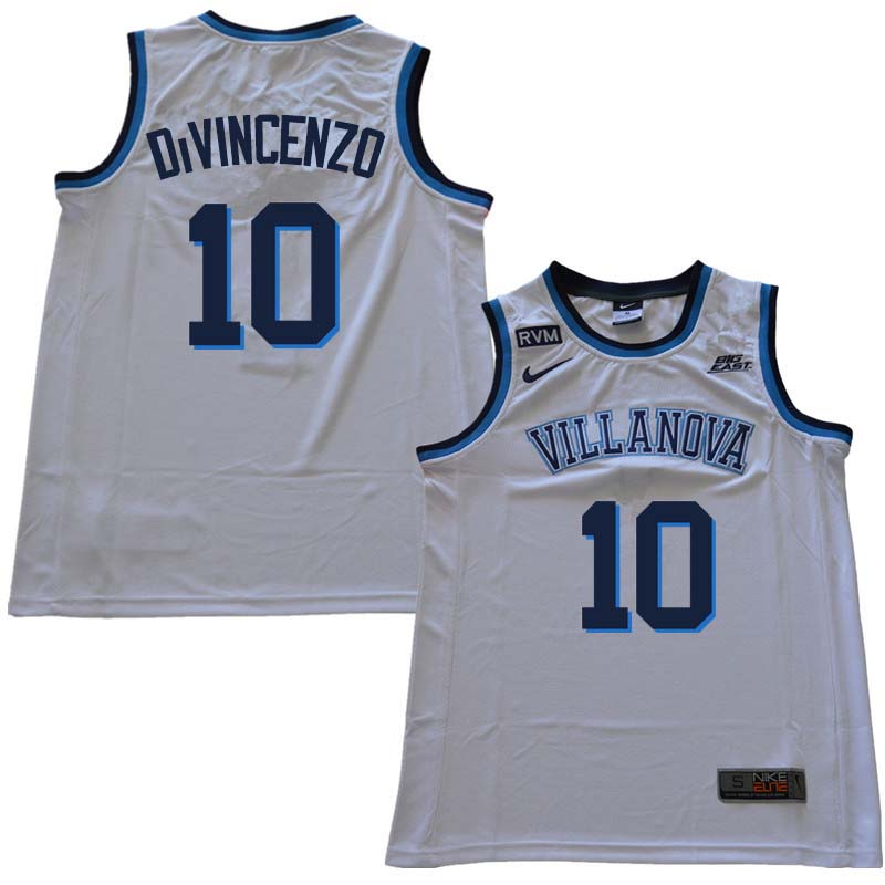 2018 Men #10 Donte DiVincenzo Willanova Wildcats College Basketball Jerseys Sale-White