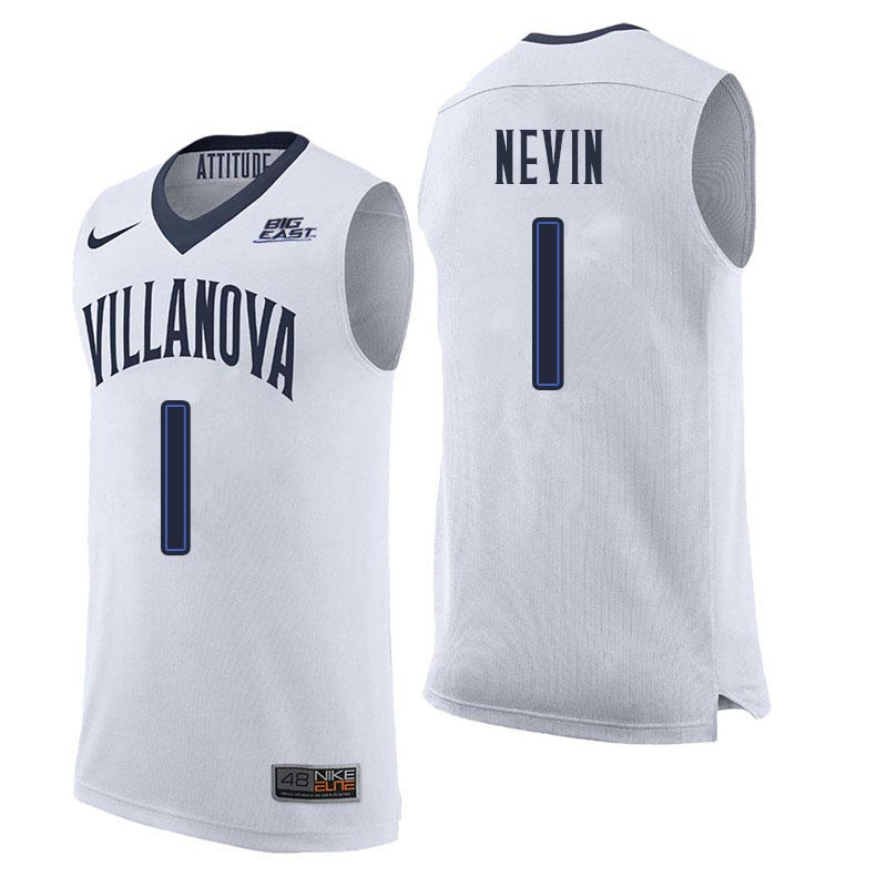 Men Villanova Wildcats #1 Jake Nevin College Basketball Jerseys Sale-White