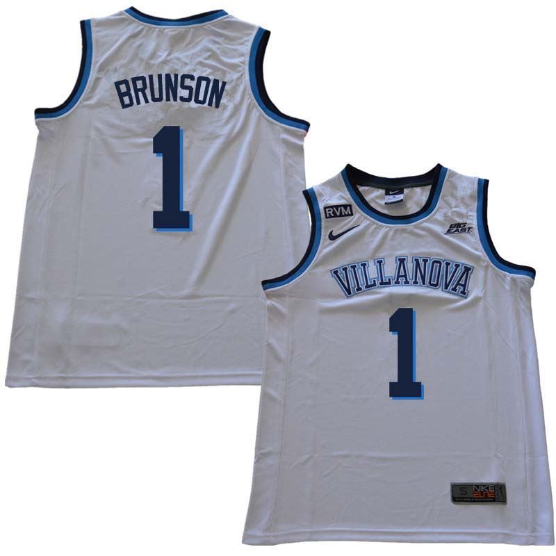 2018 Men #1 Jalen Brunson Willanova Wildcats College Basketball Jerseys Sale-White
