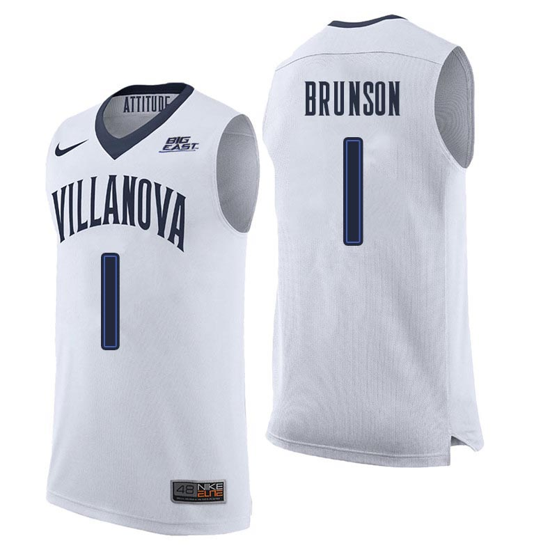 Men Villanova Wildcats #1 Jalen Brunson College Basketball Jerseys Sale-White