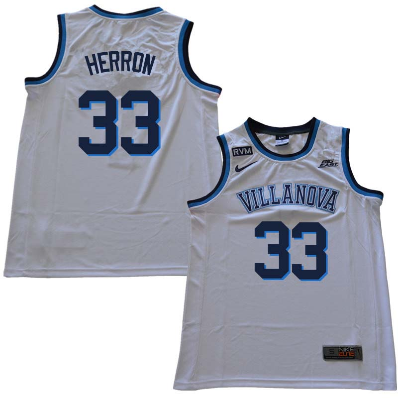 2018 Men #33 Keith Herron Willanova Wildcats College Basketball Jerseys Sale-White