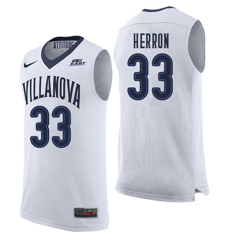 Men Villanova Wildcats #33 Keith Herron College Basketball Jerseys Sale-White