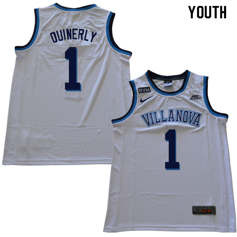 2018 Youth  1 Jahvon Quinerly Villanova Wildcats College Basketball Jerseys  Sale-White 60f9af58f