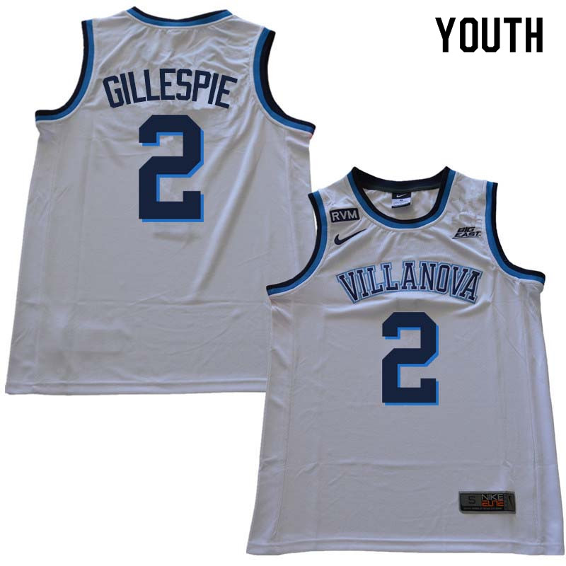 2018 Youth #2 Collin Gillespie Willanova Wildcats College Basketball Jerseys Sale-White