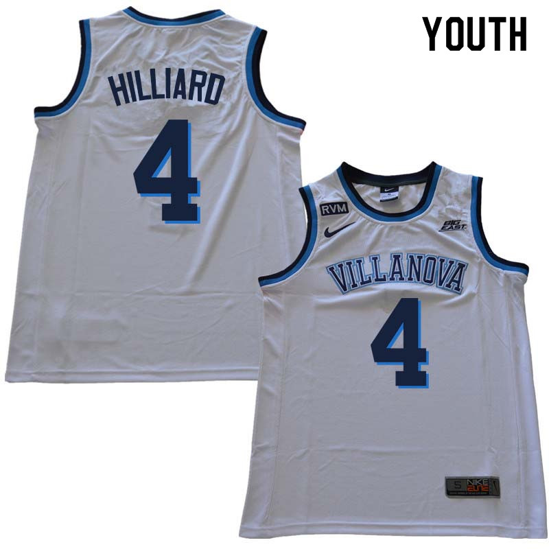 2018 Youth #4 Darrun Hilliard Willanova Wildcats College Basketball Jerseys Sale-White