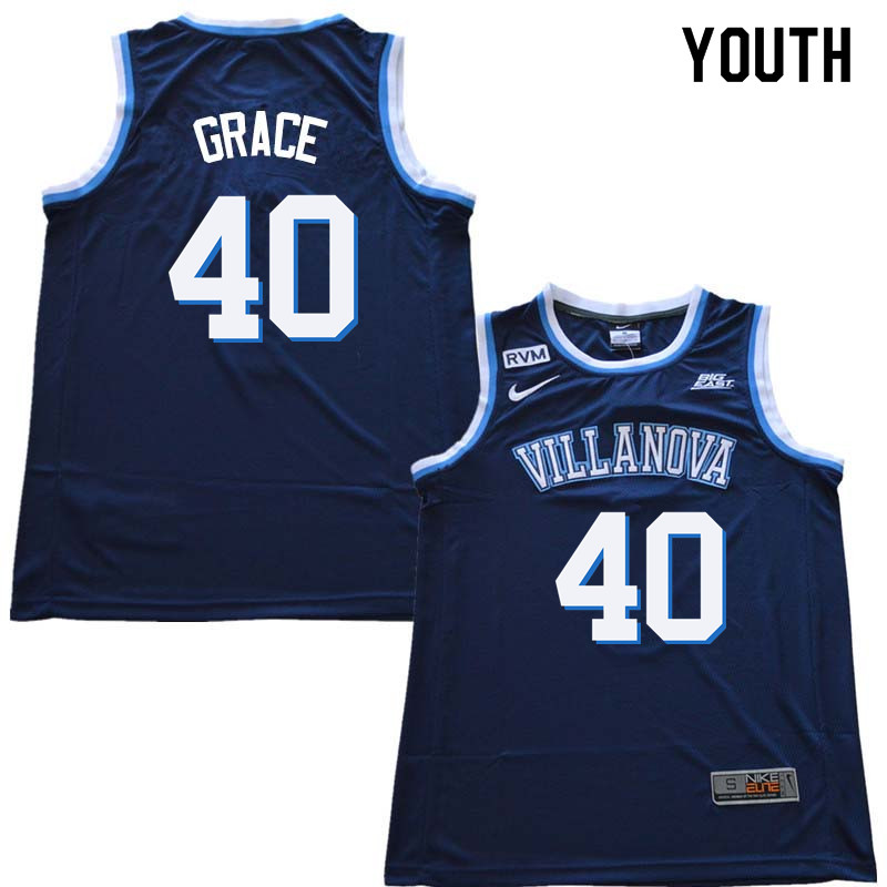 2018 Youth #40 Denny Grace Willanova Wildcats College Basketball Jerseys Sale-Navy