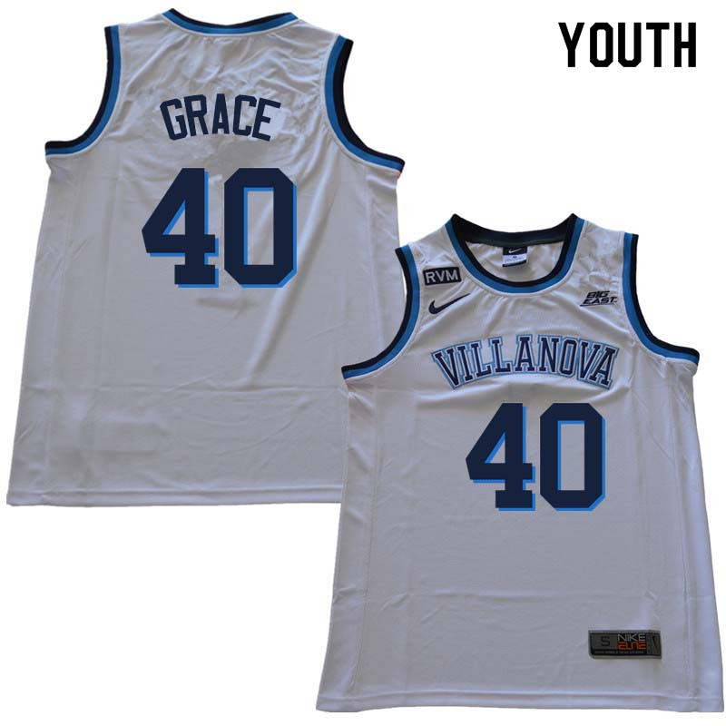 2018 Youth #40 Denny Grace Willanova Wildcats College Basketball Jerseys Sale-White
