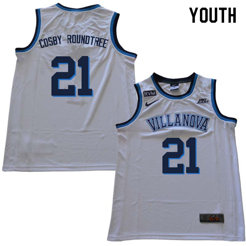 2018 Youth #21 Dhamir Cosby-Roundtree Willanova Wildcats College Basketball Jerseys Sale-White