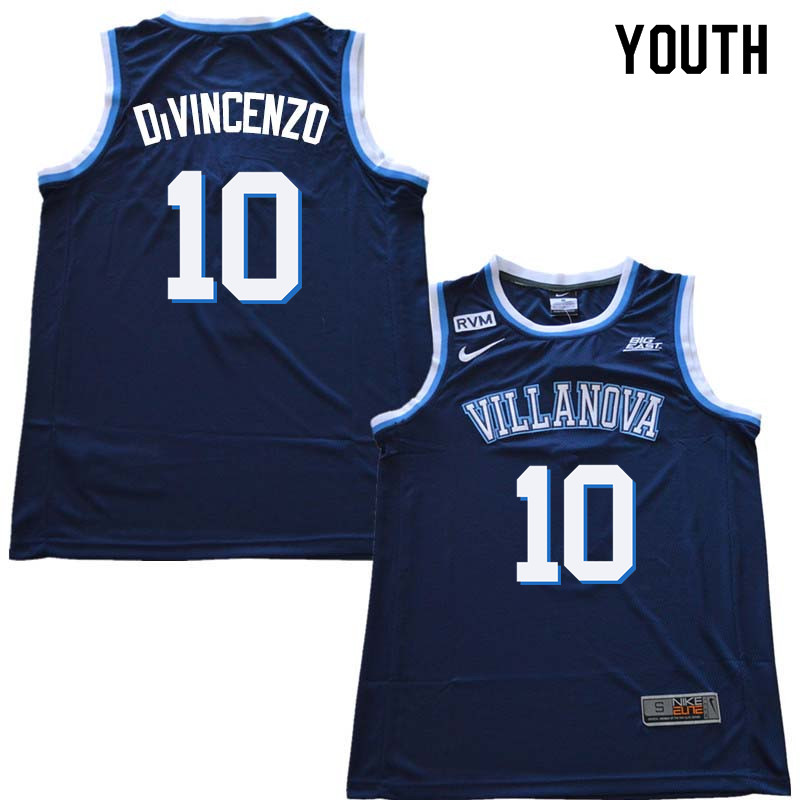 2018 Youth #10 Donte DiVincenzo Willanova Wildcats College Basketball Jerseys Sale-Navy