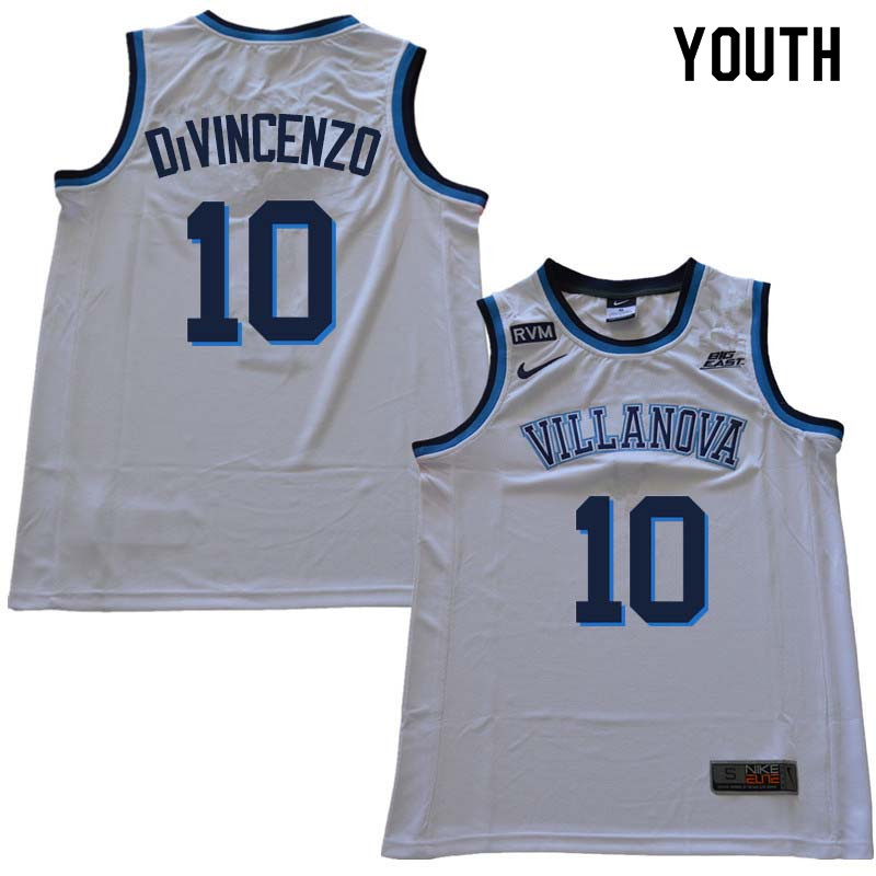 2018 Youth #10 Donte DiVincenzo Willanova Wildcats College Basketball Jerseys Sale-White