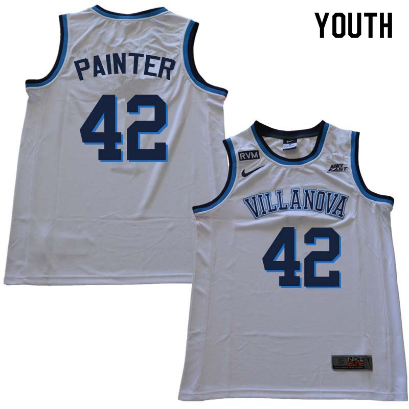 2018 Youth #42 Dylan Painter Willanova Wildcats College Basketball Jerseys Sale-White