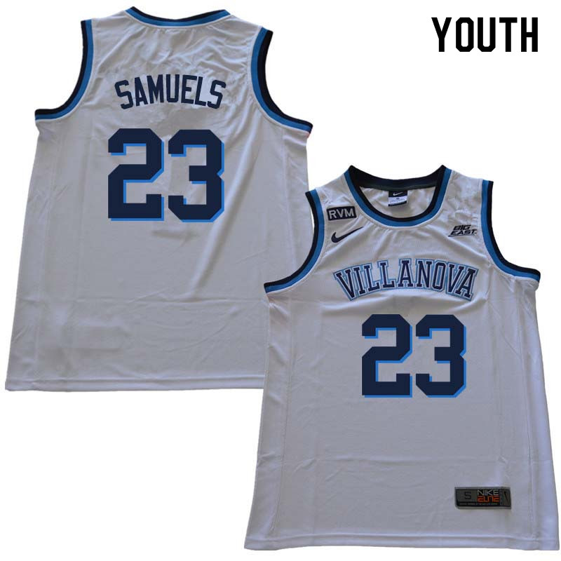 2018 Youth #23 Jermaine Samuels Willanova Wildcats College Basketball Jerseys Sale-White