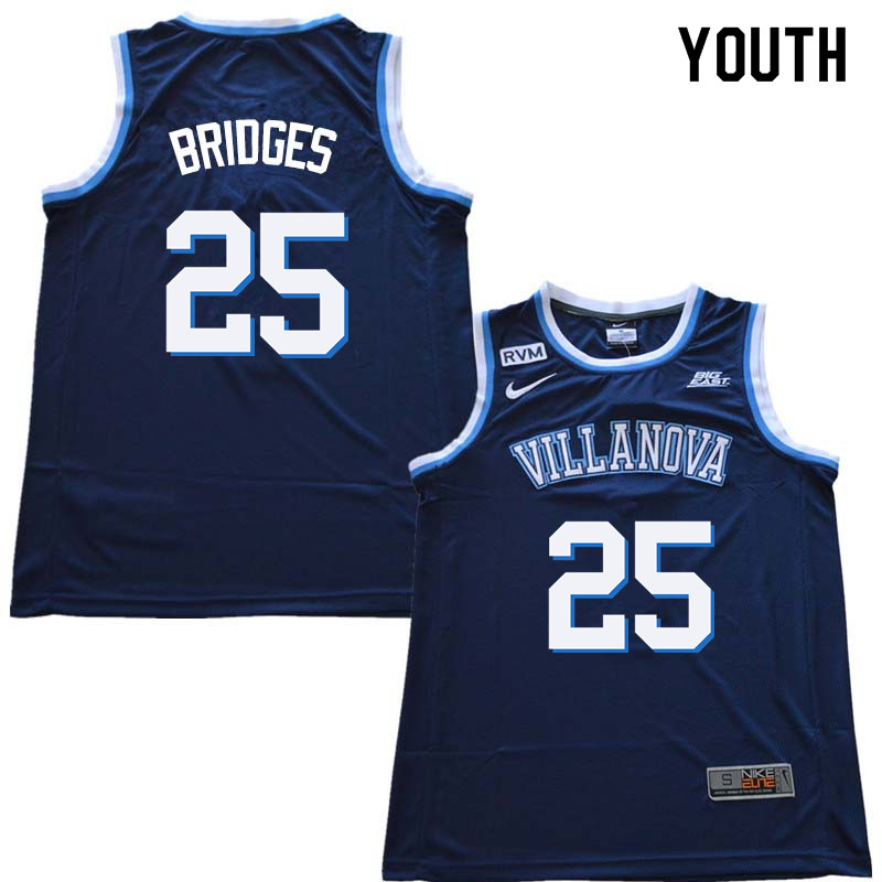 2018 Youth #25 Mikal Bridges Willanova Wildcats College Basketball Jerseys Sale-Navy