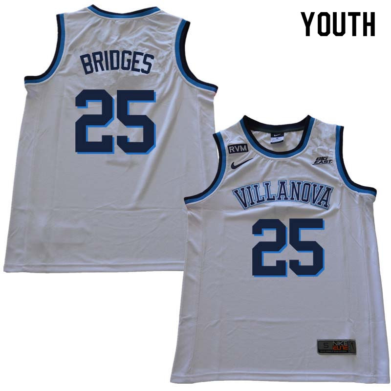 2018 Youth #25 Mikal Bridges Willanova Wildcats College Basketball Jerseys Sale-White