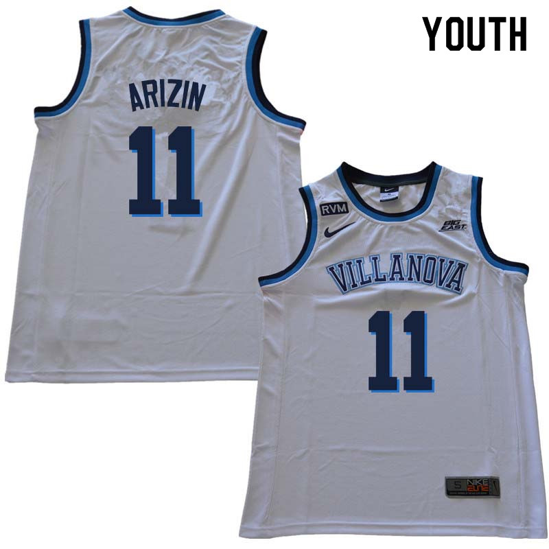 2018 Youth #11 Paul Arizin Willanova Wildcats College Basketball Jerseys Sale-White