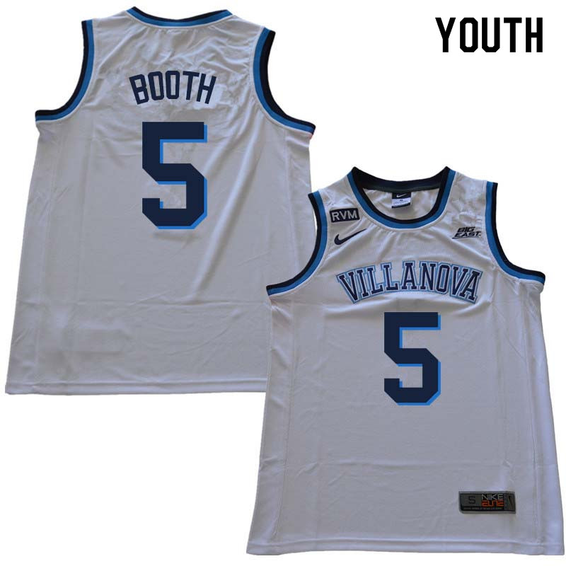 2018 Youth #5 Phil Booth Willanova Wildcats College Basketball Jerseys Sale-White
