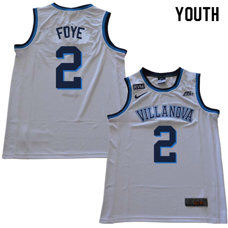 2018 Youth #2 Randy Foye Willanova Wildcats College Basketball Jerseys Sale-White