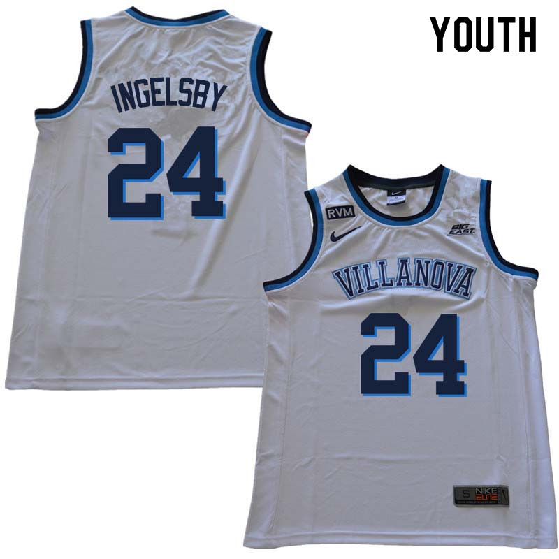2018 Youth #24 Tom Ingelsby Willanova Wildcats College Basketball Jerseys Sale-White